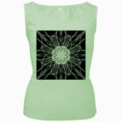 Black And White Flower Mandala Art Kaleidoscope Women s Green Tank Top