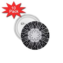 Black And White Flower Mandala Art Kaleidoscope 1 75  Buttons (10 Pack)