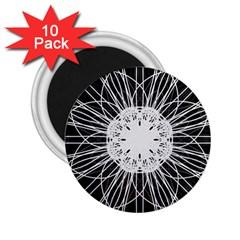 Black And White Flower Mandala Art Kaleidoscope 2.25  Magnets (10 pack)