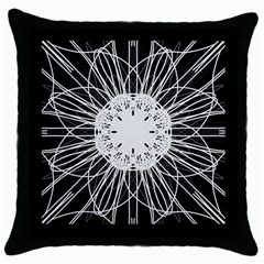 Black And White Flower Mandala Art Kaleidoscope Throw Pillow Case (Black)