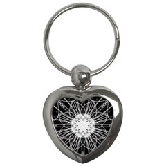 Black And White Flower Mandala Art Kaleidoscope Key Chains (heart)