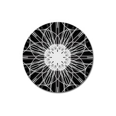 Black And White Flower Mandala Art Kaleidoscope Magnet 3  (round)