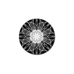 Black And White Flower Mandala Art Kaleidoscope Golf Ball Marker