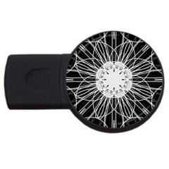 Black And White Flower Mandala Art Kaleidoscope Usb Flash Drive Round (2 Gb)
