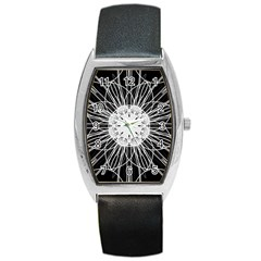 Black And White Flower Mandala Art Kaleidoscope Barrel Style Metal Watch