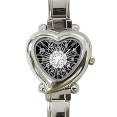 Black And White Flower Mandala Art Kaleidoscope Heart Italian Charm Watch
