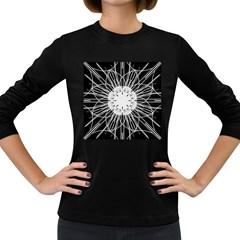 Black And White Flower Mandala Art Kaleidoscope Women s Long Sleeve Dark T Shirts