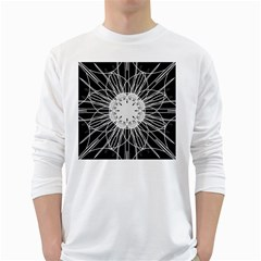 Black And White Flower Mandala Art Kaleidoscope White Long Sleeve T Shirts