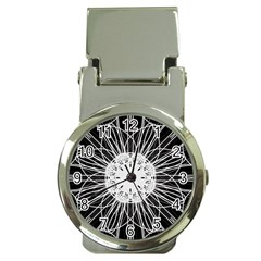 Black And White Flower Mandala Art Kaleidoscope Money Clip Watches