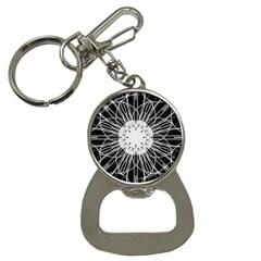 Black And White Flower Mandala Art Kaleidoscope Bottle Opener Key Chains
