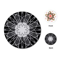 Black And White Flower Mandala Art Kaleidoscope Playing Cards (round)
