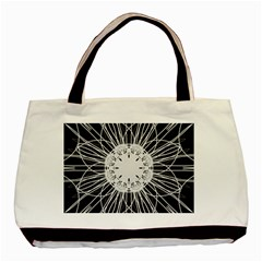 Black And White Flower Mandala Art Kaleidoscope Basic Tote Bag