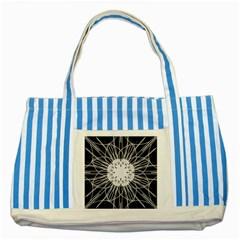 Black And White Flower Mandala Art Kaleidoscope Striped Blue Tote Bag