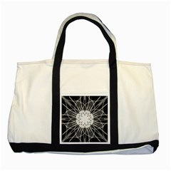Black And White Flower Mandala Art Kaleidoscope Two Tone Tote Bag