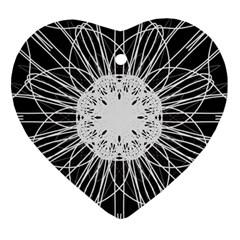 Black And White Flower Mandala Art Kaleidoscope Heart Ornament (2 Sides)