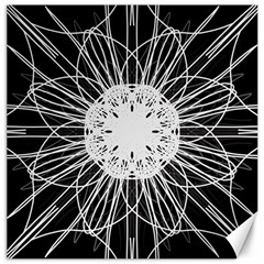 Black And White Flower Mandala Art Kaleidoscope Canvas 12  X 12