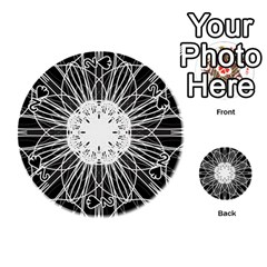 Black And White Flower Mandala Art Kaleidoscope Playing Cards 54 (round)