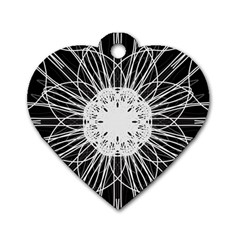 Black And White Flower Mandala Art Kaleidoscope Dog Tag Heart (one Side)