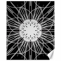 Black And White Flower Mandala Art Kaleidoscope Canvas 11  X 14