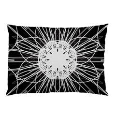 Black And White Flower Mandala Art Kaleidoscope Pillow Case