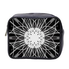 Black And White Flower Mandala Art Kaleidoscope Mini Toiletries Bag 2 Side
