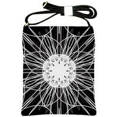 Black And White Flower Mandala Art Kaleidoscope Shoulder Sling Bags