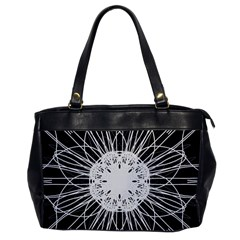 Black And White Flower Mandala Art Kaleidoscope Office Handbags