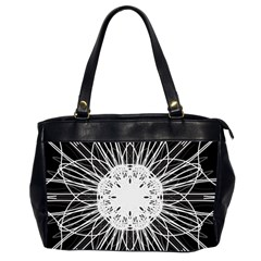 Black And White Flower Mandala Art Kaleidoscope Office Handbags (2 Sides)