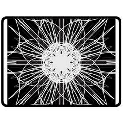Black And White Flower Mandala Art Kaleidoscope Fleece Blanket (large)