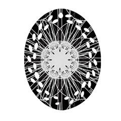 Black And White Flower Mandala Art Kaleidoscope Oval Filigree Ornament (2 Side)