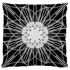 Black And White Flower Mandala Art Kaleidoscope Large Cushion Case (Two Sides)