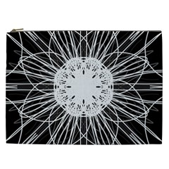 Black And White Flower Mandala Art Kaleidoscope Cosmetic Bag (xxl)