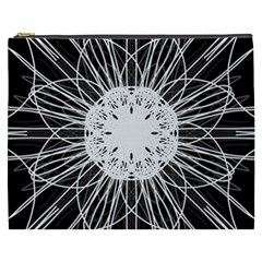 Black And White Flower Mandala Art Kaleidoscope Cosmetic Bag (xxxl)