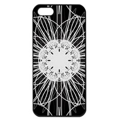 Black And White Flower Mandala Art Kaleidoscope Apple Iphone 5 Seamless Case (black)