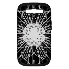 Black And White Flower Mandala Art Kaleidoscope Samsung Galaxy S Iii Hardshell Case (pc+silicone)