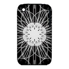 Black And White Flower Mandala Art Kaleidoscope Apple Iphone 3g/3gs Hardshell Case (pc+silicone)