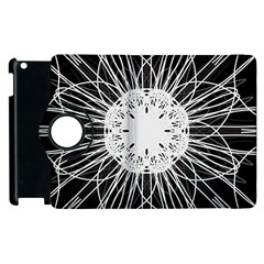 Black And White Flower Mandala Art Kaleidoscope Apple Ipad 2 Flip 360 Case