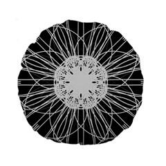 Black And White Flower Mandala Art Kaleidoscope Standard 15  Premium Round Cushions