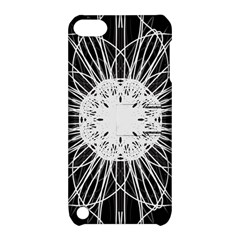 Black And White Flower Mandala Art Kaleidoscope Apple Ipod Touch 5 Hardshell Case With Stand