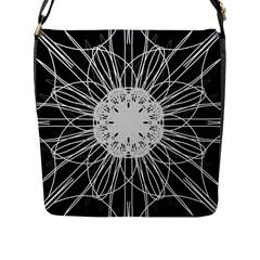 Black And White Flower Mandala Art Kaleidoscope Flap Messenger Bag (l)
