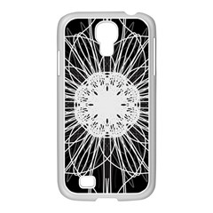 Black And White Flower Mandala Art Kaleidoscope Samsung Galaxy S4 I9500/ I9505 Case (white)