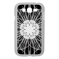 Black And White Flower Mandala Art Kaleidoscope Samsung Galaxy Grand Duos I9082 Case (white)