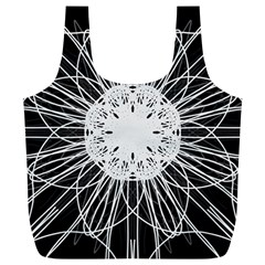 Black And White Flower Mandala Art Kaleidoscope Full Print Recycle Bags (l)