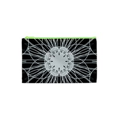 Black And White Flower Mandala Art Kaleidoscope Cosmetic Bag (xs)