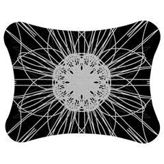 Black And White Flower Mandala Art Kaleidoscope Jigsaw Puzzle Photo Stand (Bow)