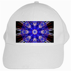 Kaleidoscope Flower Mandala Art Black White Red Blue White Cap