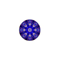 Kaleidoscope Flower Mandala Art Black White Red Blue 1  Mini Buttons