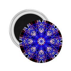 Kaleidoscope Flower Mandala Art Black White Red Blue 2 25  Magnets