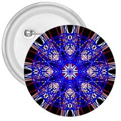 Kaleidoscope Flower Mandala Art Black White Red Blue 3  Buttons