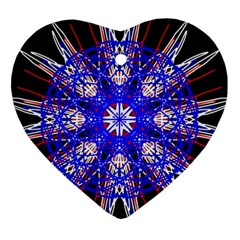 Kaleidoscope Flower Mandala Art Black White Red Blue Ornament (heart)